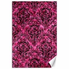Damask1 Black Marble & Pink Marble (r) Canvas 24  X 36  by trendistuff