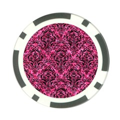 Damask1 Black Marble & Pink Marble (r) Poker Chip Card Guard by trendistuff