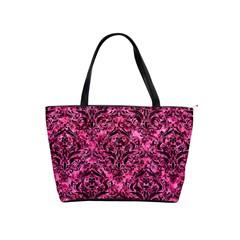 Damask1 Black Marble & Pink Marble (r) Classic Shoulder Handbag by trendistuff