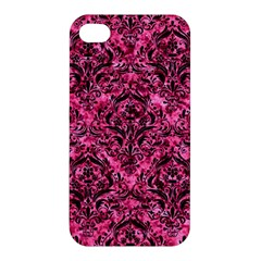 Damask1 Black Marble & Pink Marble (r) Apple Iphone 4/4s Hardshell Case by trendistuff