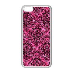 Damask1 Black Marble & Pink Marble (r) Apple Iphone 5c Seamless Case (white)