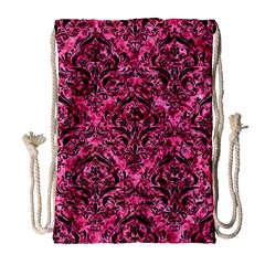Damask1 Black Marble & Pink Marble (r) Drawstring Bag (large) by trendistuff
