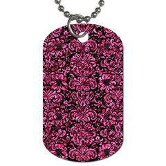 Damask2 Black Marble & Pink Marble Dog Tag (one Side) by trendistuff