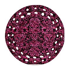 Damask2 Black Marble & Pink Marble Round Filigree Ornament (two Sides) by trendistuff