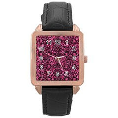 Damask2 Black Marble & Pink Marble (r) Rose Gold Leather Watch  by trendistuff
