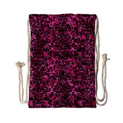 Damask2 Black Marble & Pink Marble (r) Drawstring Bag (small) by trendistuff