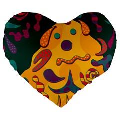 Candy Man 2 Large 19  Premium Flano Heart Shape Cushions