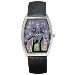 Cats Barrel Style Metal Watch by Valentinaart