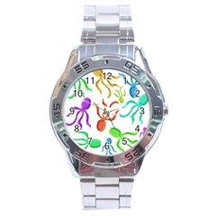 Octopuses Pattern Stainless Steel Analogue Watch by Valentinaart