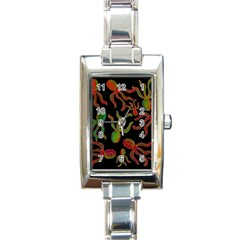 Octopuses Pattern 4 Rectangle Italian Charm Watch by Valentinaart