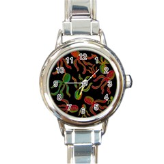 Octopuses Pattern 4 Round Italian Charm Watch by Valentinaart