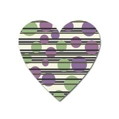 Purple And Green Elegant Pattern Heart Magnet by Valentinaart