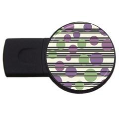 Purple And Green Elegant Pattern Usb Flash Drive Round (2 Gb)  by Valentinaart
