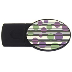 Purple and green elegant pattern USB Flash Drive Oval (2 GB)