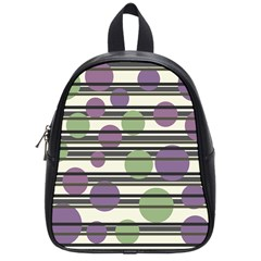 Purple And Green Elegant Pattern School Bags (small)  by Valentinaart