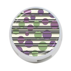 Purple And Green Elegant Pattern 4 Port Usb Hub (two Sides)  by Valentinaart