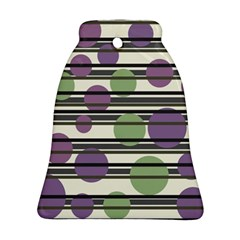Purple And Green Elegant Pattern Ornament (bell)  by Valentinaart