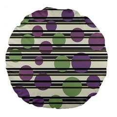 Purple And Green Elegant Pattern Large 18  Premium Flano Round Cushions by Valentinaart
