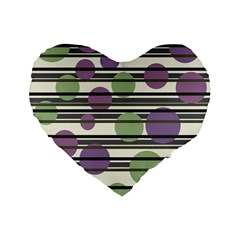Purple And Green Elegant Pattern Standard 16  Premium Flano Heart Shape Cushions by Valentinaart