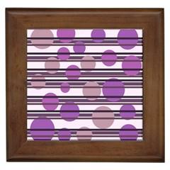 Purple Simple Pattern Framed Tiles by Valentinaart