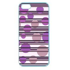Purple Simple Pattern Apple Seamless Iphone 5 Case (color) by Valentinaart