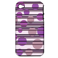 Purple Simple Pattern Apple Iphone 4/4s Hardshell Case (pc+silicone) by Valentinaart