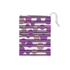 Purple Simple Pattern Drawstring Pouches (small)  by Valentinaart