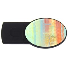 Unique Abstract In Green, Blue, Orange, Gold Usb Flash Drive Oval (4 Gb)  by digitaldivadesigns