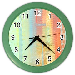 Unique Abstract In Green, Blue, Orange, Gold Color Wall Clocks by digitaldivadesigns