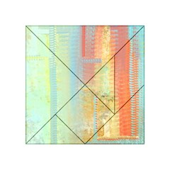 Unique Abstract In Green, Blue, Orange, Gold Acrylic Tangram Puzzle (4  X 4 ) by theunrulyartist