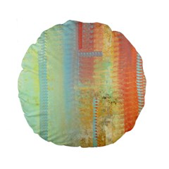 Unique Abstract In Green, Blue, Orange, Gold Standard 15  Premium Round Cushions by theunrulyartist