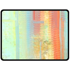 Unique Abstract In Green, Blue, Orange, Gold Double Sided Fleece Blanket (large)  by theunrulyartist