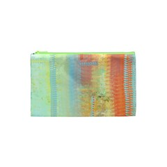 Unique Abstract In Green, Blue, Orange, Gold Cosmetic Bag (xs) by digitaldivadesigns