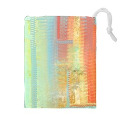 Unique Abstract In Green, Blue, Orange, Gold Drawstring Pouches (extra Large) by theunrulyartist