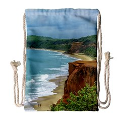 Aerial Seascape Scene Pipa Brazil Drawstring Bag (large) by dflcprints