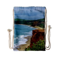Aerial Seascape Scene Pipa Brazil Drawstring Bag (small) by dflcprints