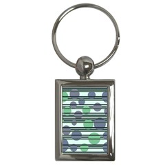 Green Simple Pattern Key Chains (rectangle)  by Valentinaart