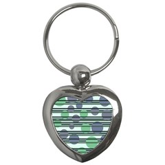 Green Simple Pattern Key Chains (heart)  by Valentinaart
