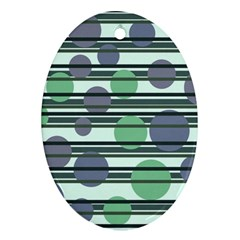 Green Simple Pattern Oval Ornament (two Sides) by Valentinaart