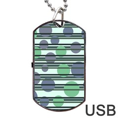 Green Simple Pattern Dog Tag Usb Flash (one Side) by Valentinaart