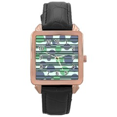 Green Simple Pattern Rose Gold Leather Watch  by Valentinaart