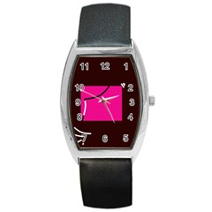 Pink Square  Barrel Style Metal Watch by Valentinaart