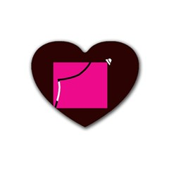 Pink square  Rubber Coaster (Heart)