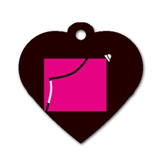 Pink Square  Dog Tag Heart (two Sides) by Valentinaart