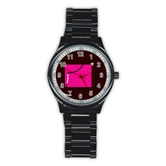 Pink Square  Stainless Steel Round Watch by Valentinaart