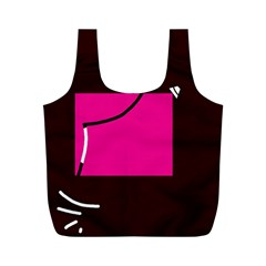 Pink Square  Full Print Recycle Bags (m)  by Valentinaart