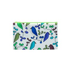 Birds And Flowers   Blue Cosmetic Bag (xs) by Valentinaart
