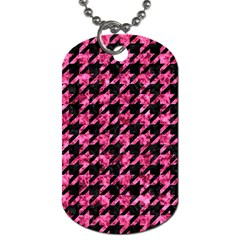 Houndstooth1 Black Marble & Pink Marble Dog Tag (one Side) by trendistuff