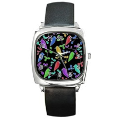 Birds And Flowers 2 Square Metal Watch by Valentinaart