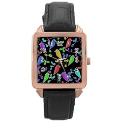 Birds And Flowers 2 Rose Gold Leather Watch  by Valentinaart